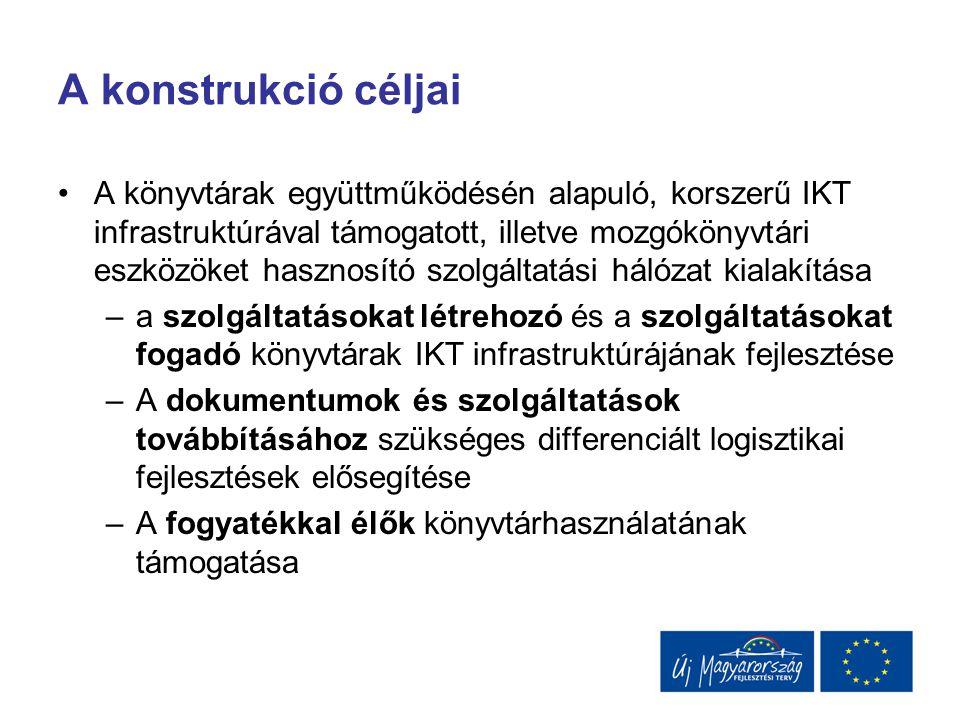 A konstrukció céljai A könyvtárak együttműködésén alapuló, korszerű IKT infrastruktúrával támogatott, illetve mozgókönyvtári eszközöket hasznosító szo