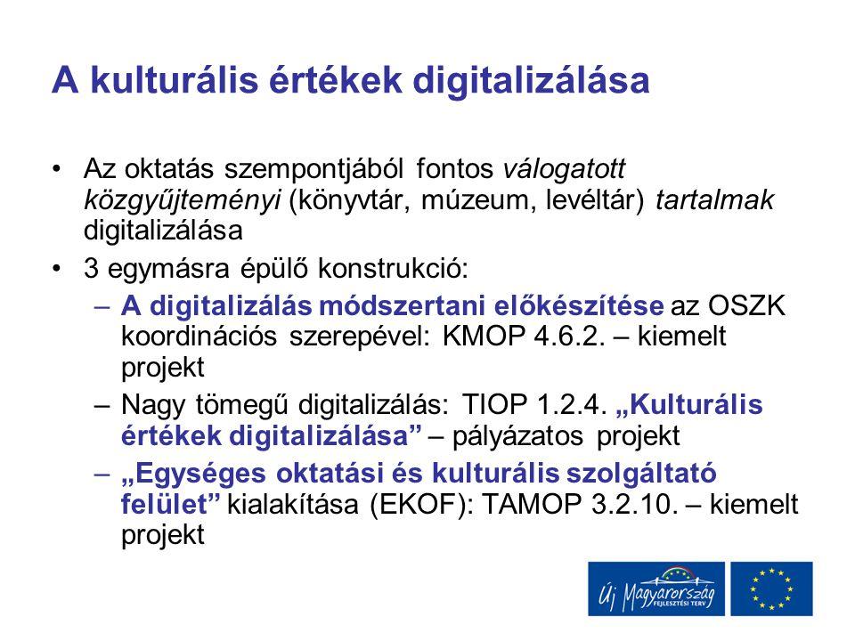 A kulturális értékek digitalizálása Az oktatás szempontjából fontos válogatott közgyűjteményi (könyvtár, múzeum, levéltár) tartalmak digitalizálása 3