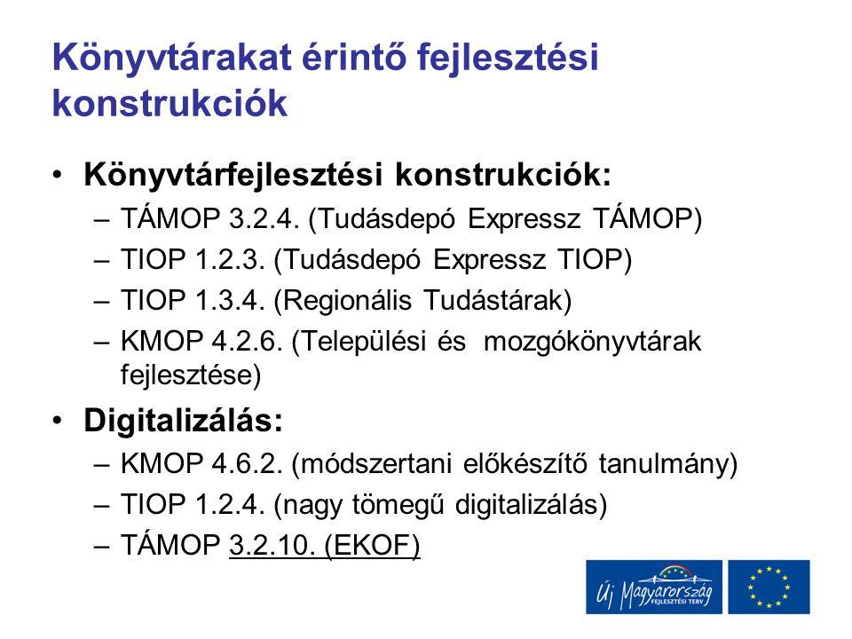 Könyvtárakat érintő fejlesztési konstrukciók Könyvtárfejlesztési konstrukciók: –TÁMOP 3.2.4. (Tudásdepó Expressz TÁMOP) –TIOP 1.2.3. (Tudásdepó Expres