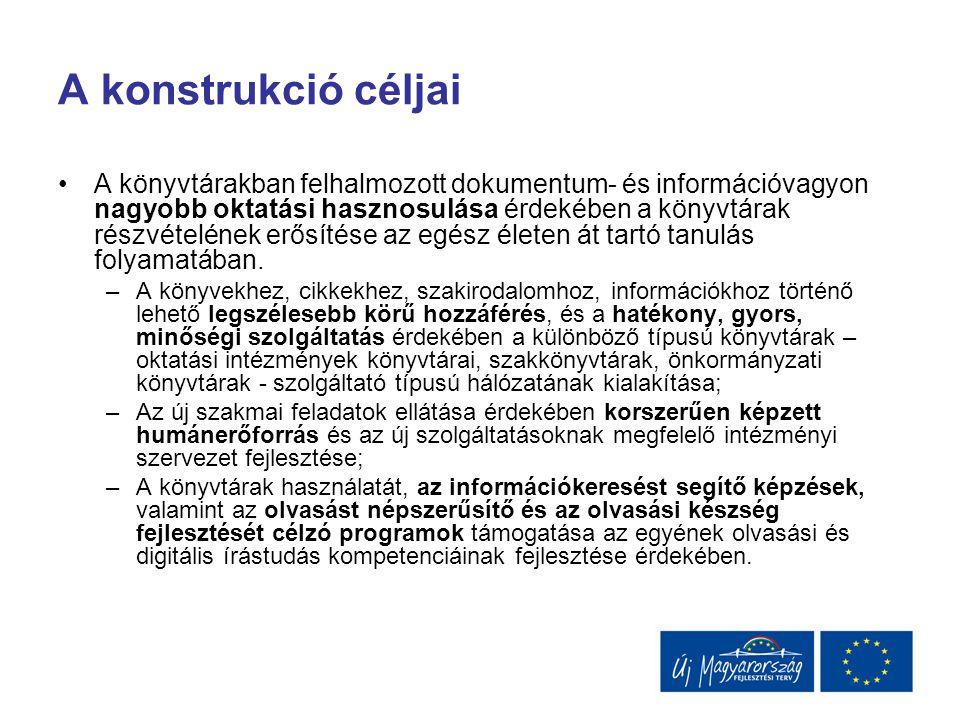A konstrukció céljai A könyvtárakban felhalmozott dokumentum- és információvagyon nagyobb oktatási hasznosulása érdekében a könyvtárak részvételének e