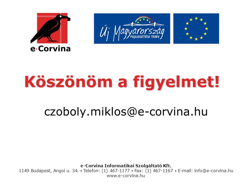 e-Corvina Informatikai Szolgáltató Kft.1149 Budapest, Angol u.