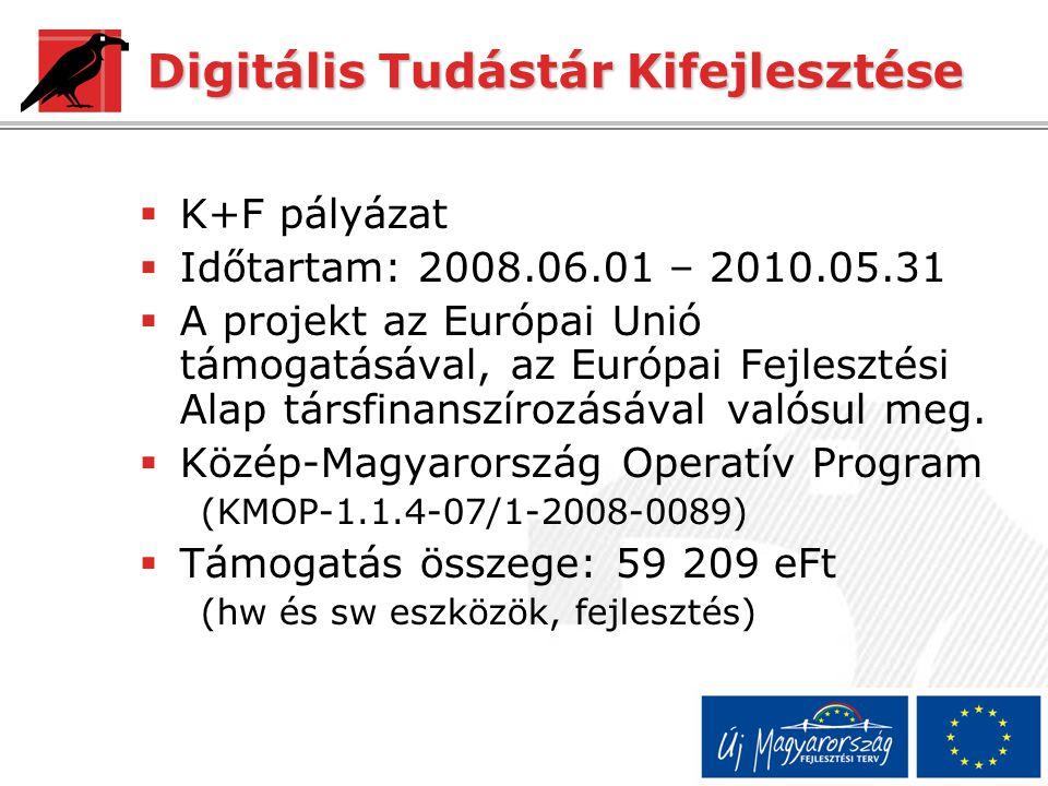 Digitális Tudástár Kifejlesztése  K+F pályázat  Időtartam: 2008.06.01 – 2010.05.31  A projekt az Európai Unió támogatásával, az Európai Fejlesztési Alap társfinanszírozásával valósul meg.