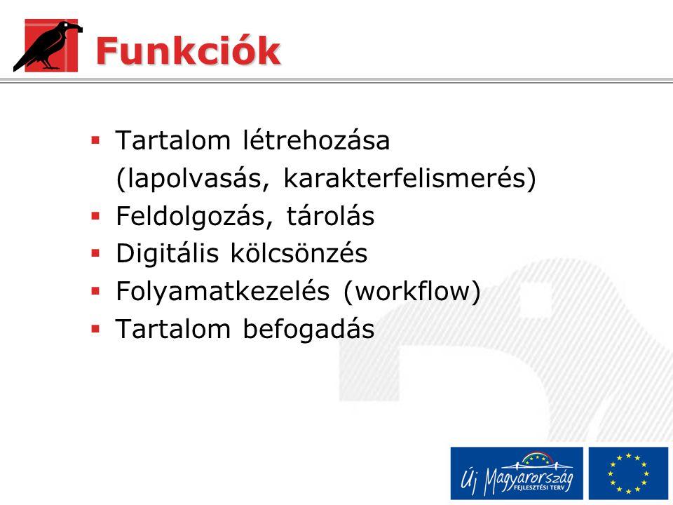 Funkciók  Tartalom létrehozása (lapolvasás, karakterfelismerés)  Feldolgozás, tárolás  Digitális kölcsönzés  Folyamatkezelés (workflow)  Tartalom befogadás