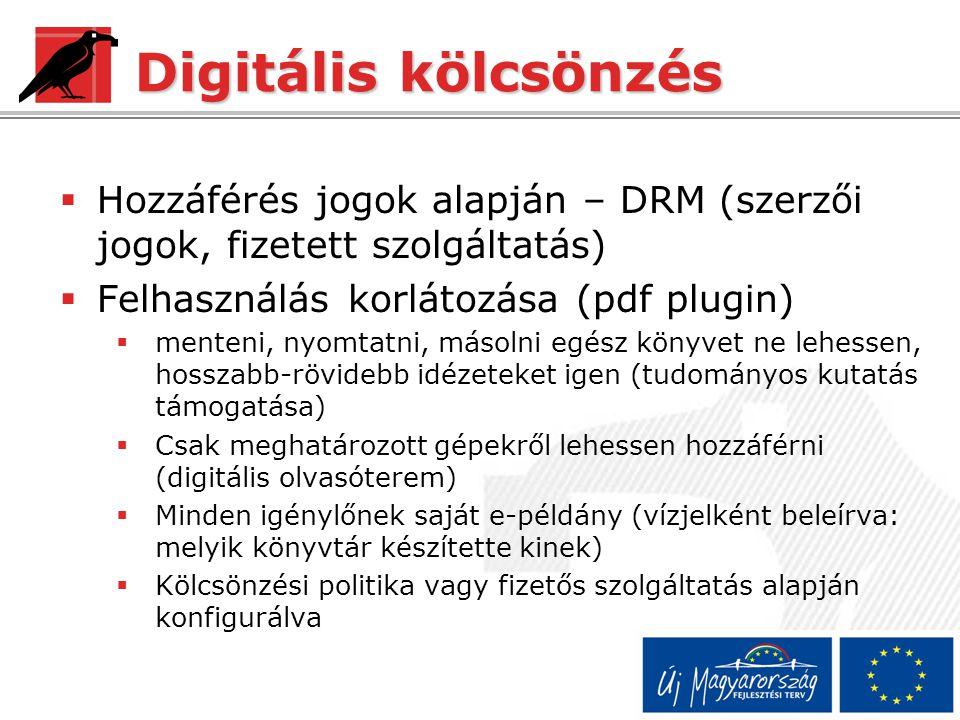 Digitális kölcsönzés HHozzáférés jogok alapján – DRM (szerzői jogok, fizetett szolgáltatás) FFelhasználás korlátozása (pdf plugin) mmenteni, nyomtatni, másolni egész könyvet ne lehessen, hosszabb-rövidebb idézeteket igen (tudományos kutatás támogatása) CCsak meghatározott gépekről lehessen hozzáférni (digitális olvasóterem) MMinden igénylőnek saját e-példány (vízjelként beleírva: melyik könyvtár készítette kinek) KKölcsönzési politika vagy fizetős szolgáltatás alapján konfigurálva