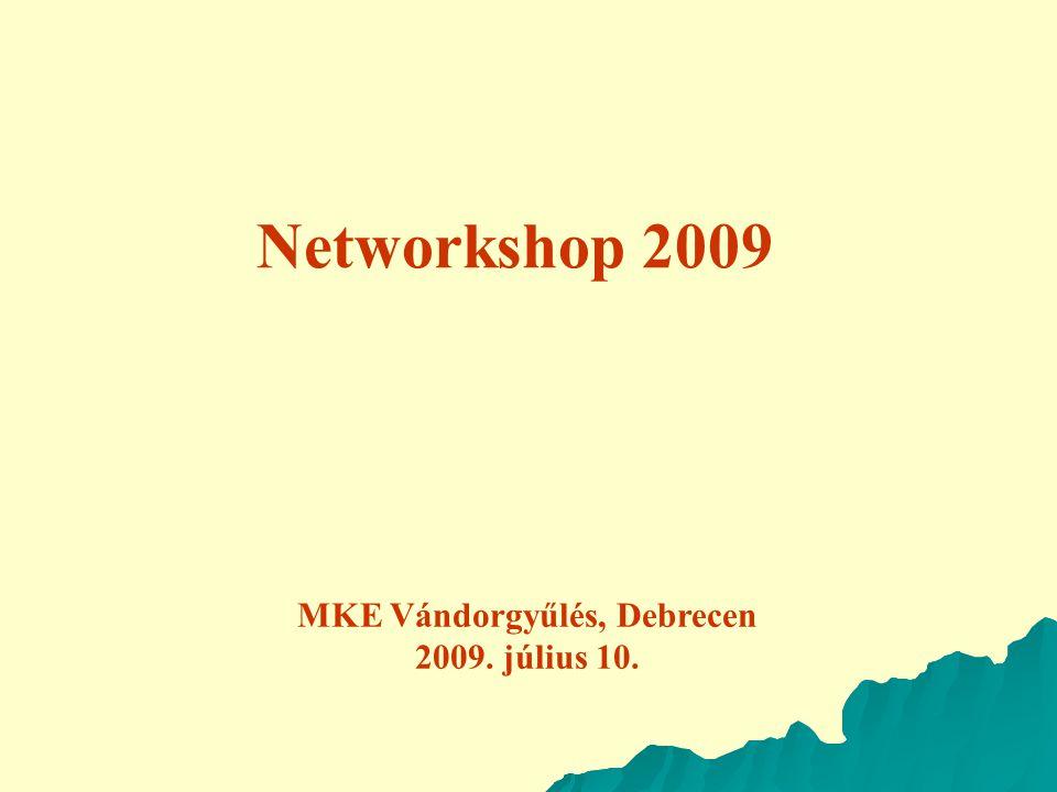 Networkshop 2009 MKE Vándorgyűlés, Debrecen 2009. július 10.