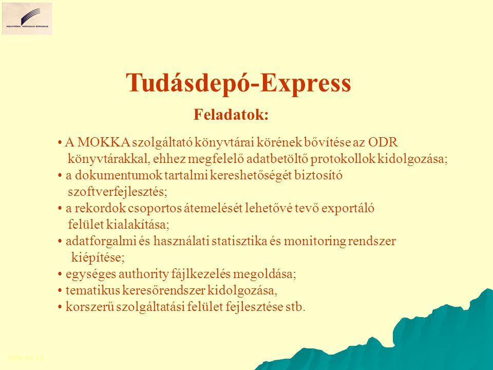 Tudásdepó-Express A MOKKA szolgáltató könyvtárai körének bővítése az ODR könyvtárakkal, ehhez megfelelő adatbetöltő protokollok kidolgozása; a dokumentumok tartalmi kereshetőségét biztosító szoftverfejlesztés; a rekordok csoportos átemelését lehetővé tevő exportáló felület kialakítása; adatforgalmi és használati statisztika és monitoring rendszer kiépítése; egységes authority fájlkezelés megoldása; tematikus keresőrendszer kidolgozása, korszerű szolgáltatási felület fejlesztése stb.