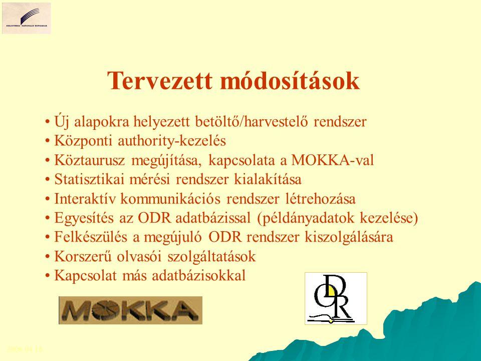 Tervezett módosítások Új alapokra helyezett betöltő/harvestelő rendszer Központi authority-kezelés Köztaurusz megújítása, kapcsolata a MOKKA-val Stati