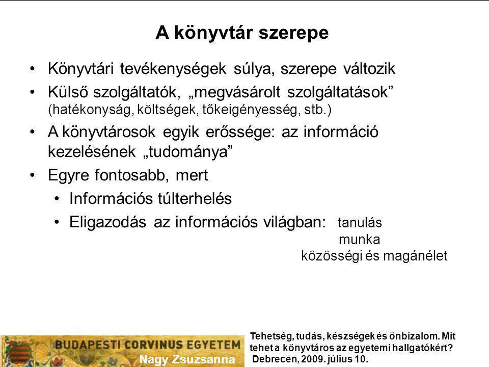 """Információs írástudás Meghatározások: """"Felismeri, hogy szüksége van információra (mennyi, milyen) Megkeresi a szükséges információt (hatékonyan és eredményesen) Kritikusan értékeli az információs forrásokat és az információt A kiválasztott információt meglévő tudásbázisába integrálja Az információt meghatározott cél elérésére hasznosítja Ismeri az információ felhasználás jogi, gazdasági és társadalmi szabályait, az információt etikusan és jogszerűen használja Forrás: Information Literacy Competency Standards for Higher Education, American Library Association, September 01, 2006."""