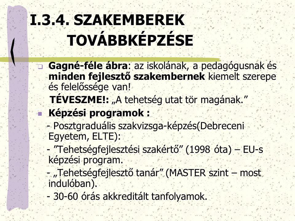 I.3.4.SZAKEMBEREK TOVÁBBKÉPZÉSE I.3.4.