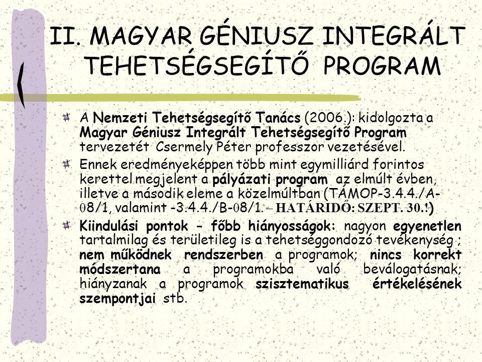 II. MAGYAR GÉNIUSZ INTEGRÁLT TEHETSÉGSEGÍTŐ PROGRAM A Nemzeti Tehetségsegítő Tanács (2006.): kidolgozta a Magyar Géniusz Integrált Tehetségsegítő Prog