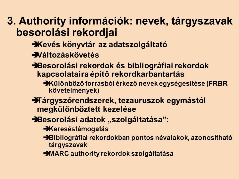 3. Authority információk: nevek, tárgyszavak besorolási rekordjai  Kevés könyvtár az adatszolgáltató  Változáskövetés  Besorolási rekordok és bibli