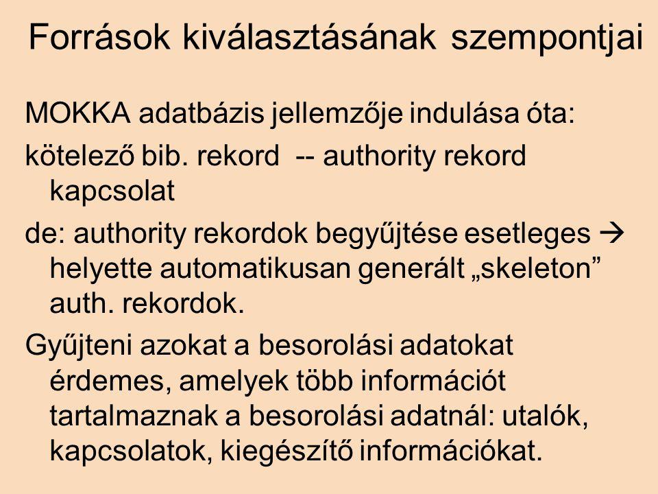 Források kiválasztásának szempontjai MOKKA adatbázis jellemzője indulása óta: kötelező bib.