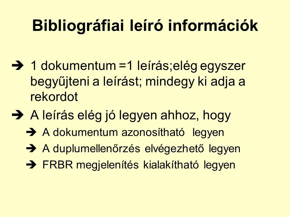Bibliográfiai leíró információk  1 dokumentum =1 leírás;elég egyszer begyűjteni a leírást; mindegy ki adja a rekordot  A leírás elég jó legyen ahhoz, hogy  A dokumentum azonosítható legyen  A duplumellenőrzés elvégezhető legyen  FRBR megjelenítés kialakítható legyen