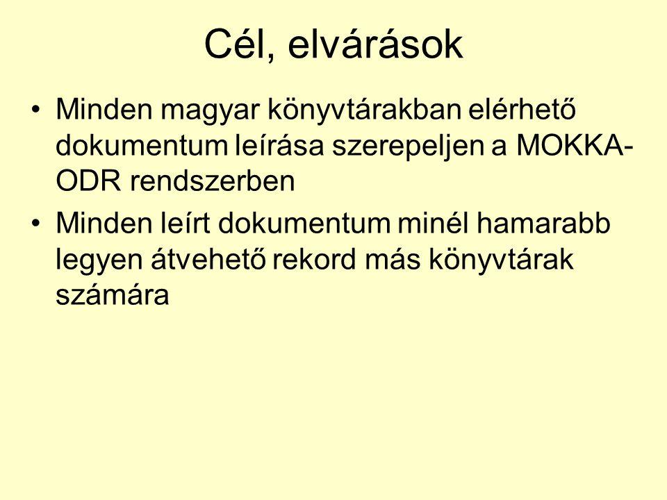 Cél, elvárások Minden magyar könyvtárakban elérhető dokumentum leírása szerepeljen a MOKKA- ODR rendszerben Minden leírt dokumentum minél hamarabb legyen átvehető rekord más könyvtárak számára