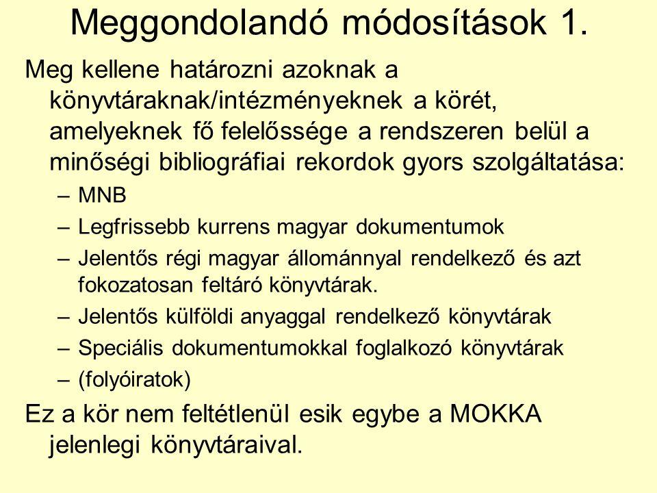Meggondolandó módosítások 1.