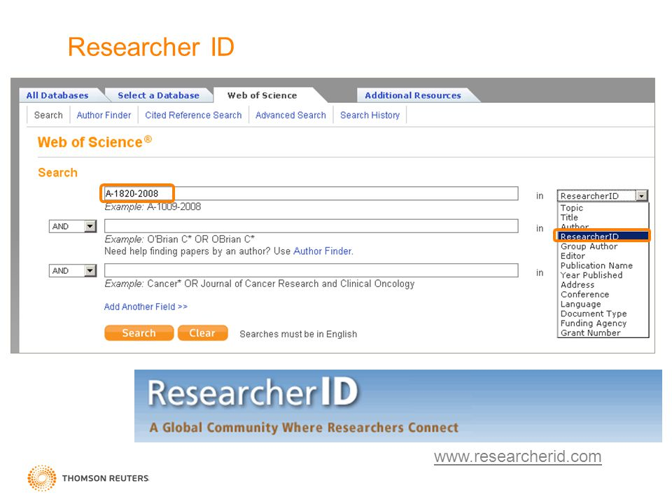 Researcher ID www.researcherid.com