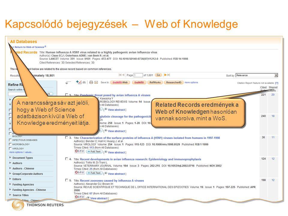 Kapcsolódó bejegyzések – Web of Knowledge Related Records eredmények a Web of Knowledgen hasonlóan vannak sorolva, mint a WoS. A narancssárga sáv azt