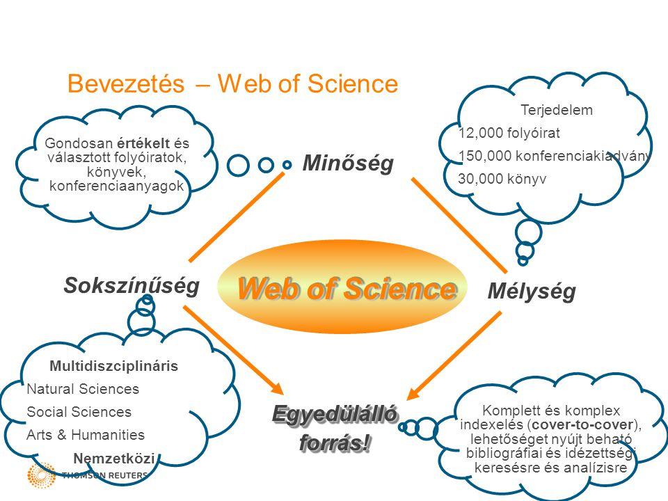 Bevezetés – Web of Science Minőség Sokszínűség Mélység Egyedülálló forrás! Gondosan értékelt és választott folyóiratok, könyvek, konferenciaanyagok Mu
