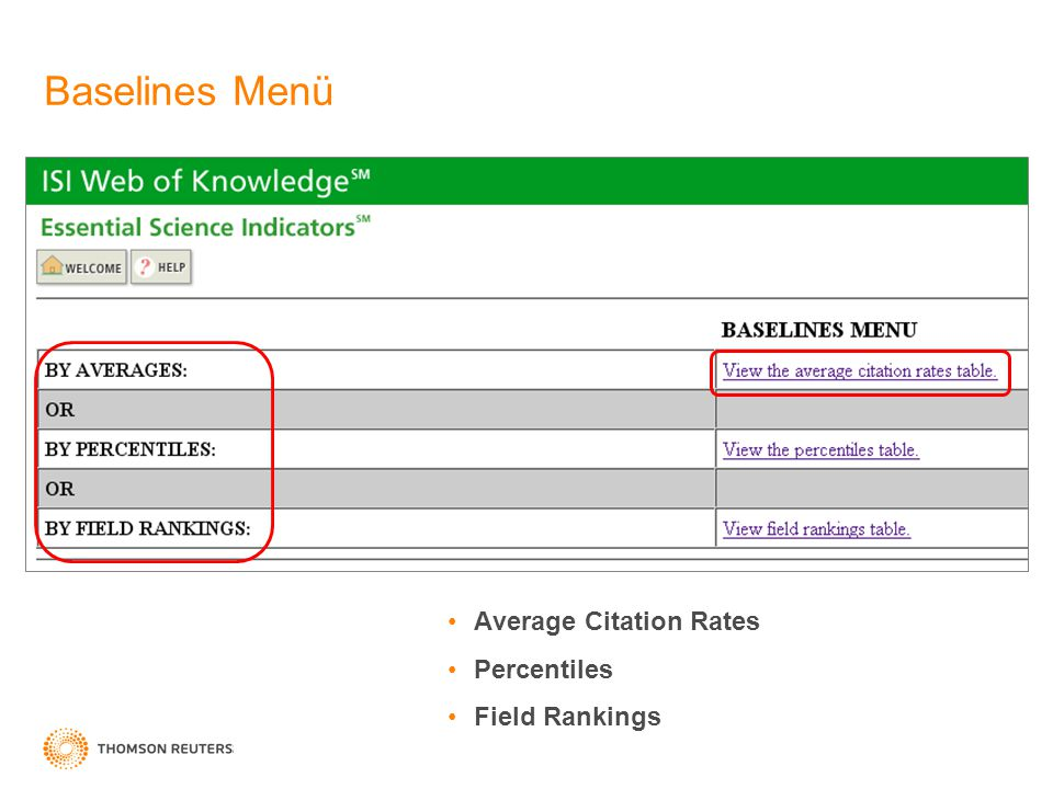 Average Citation Rates Percentiles Field Rankings Baselines Menü