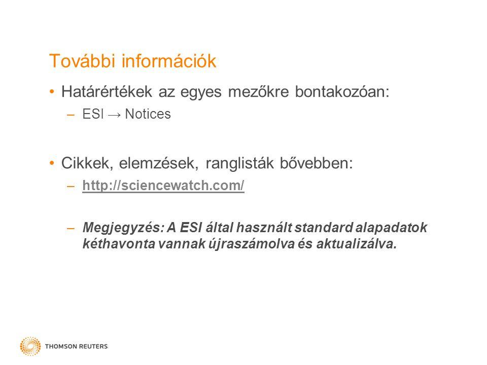 További információk Határértékek az egyes mezőkre bontakozóan: –ESI → Notices Cikkek, elemzések, ranglisták bővebben: –http://sciencewatch.com/http://