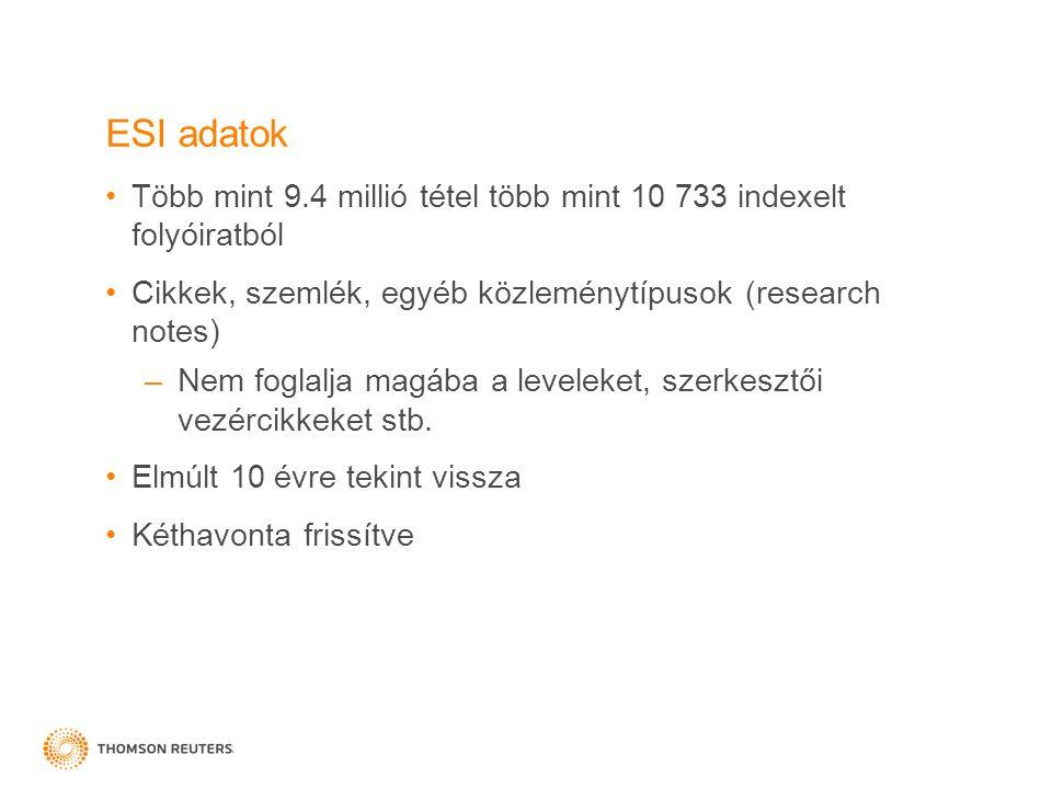 ESI adatok Több mint 9.4 millió tétel több mint 10 733 indexelt folyóiratból Cikkek, szemlék, egyéb közleménytípusok (research notes) –Nem foglalja ma