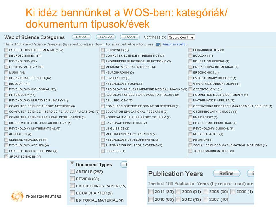 Ki idéz bennünket a WOS-ben: kategóriák/ dokumentum típusok/évek