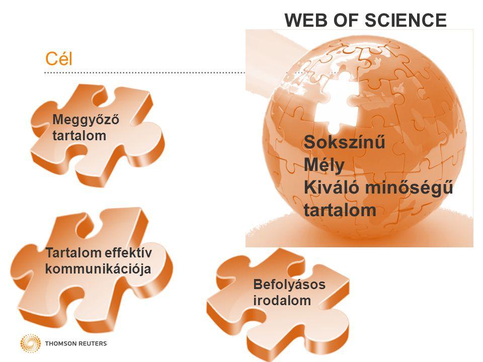 Cél Sokszínű Mély Kiváló minőségű tartalom Meggyőző tartalom Befolyásos irodalom Tartalom effektív kommunikációja WEB OF SCIENCE