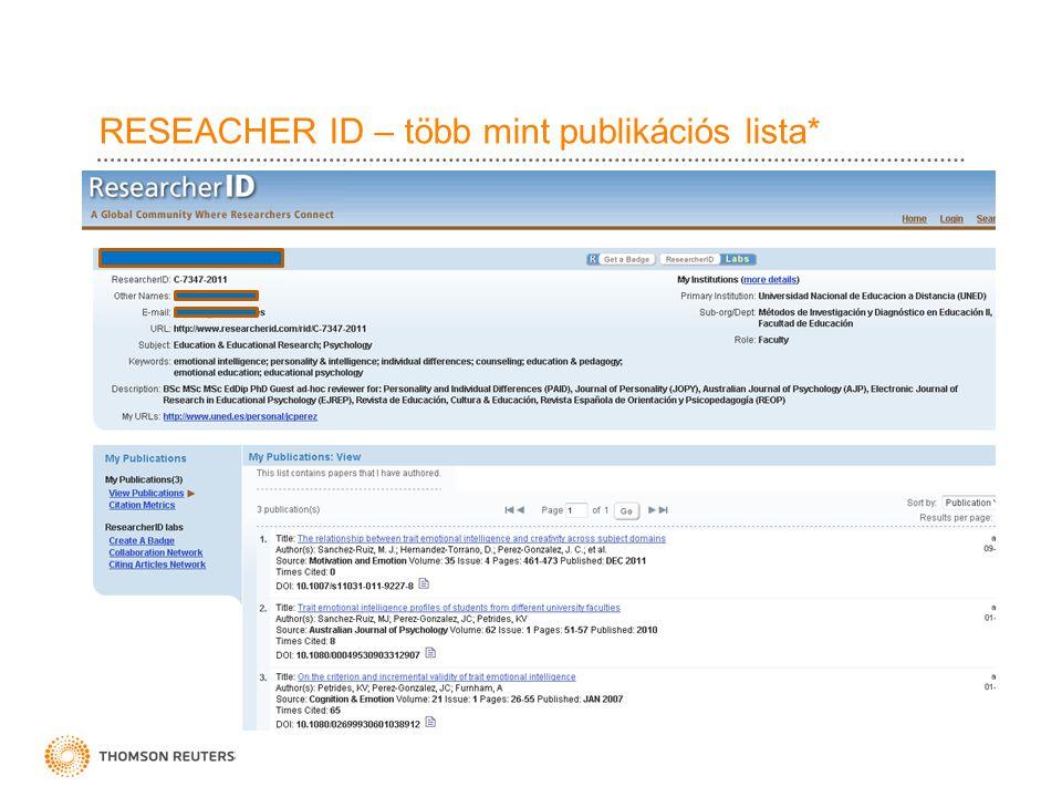 RESEACHER ID – több mint publikációs lista*
