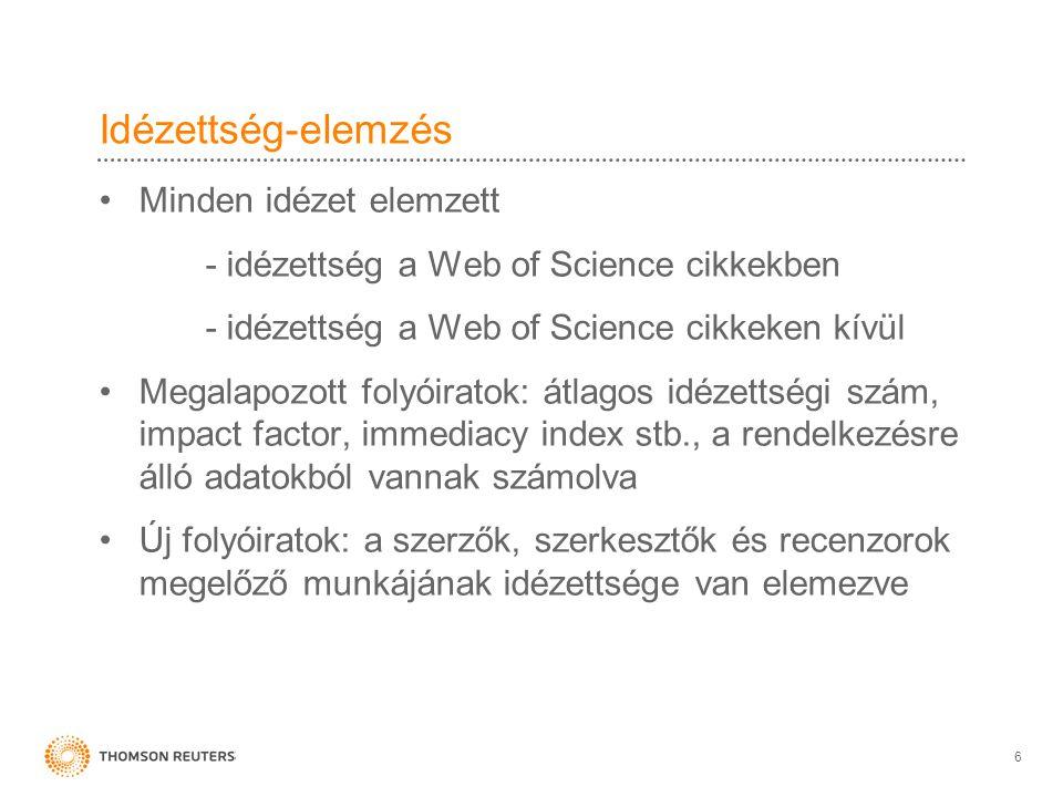 Idézettség-elemzés Minden idézet elemzett - idézettség a Web of Science cikkekben - idézettség a Web of Science cikkeken kívül Megalapozott folyóirato