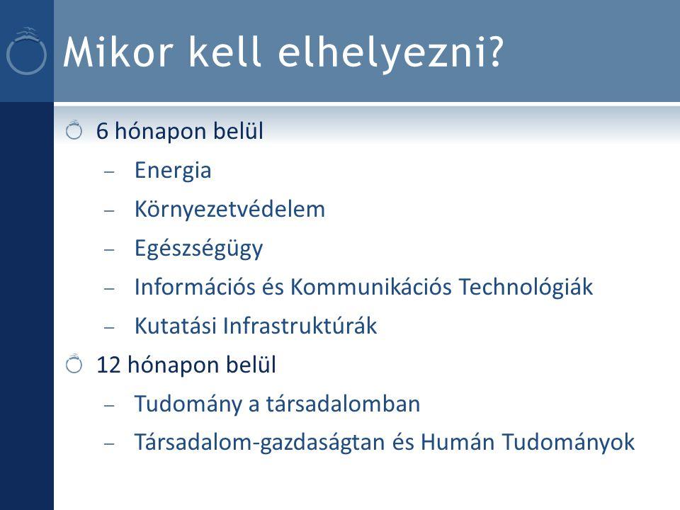 Mikor kell elhelyezni? 6 hónapon belül – Energia – Környezetvédelem – Egészségügy – Információs és Kommunikációs Technológiák – Kutatási Infrastruktúr