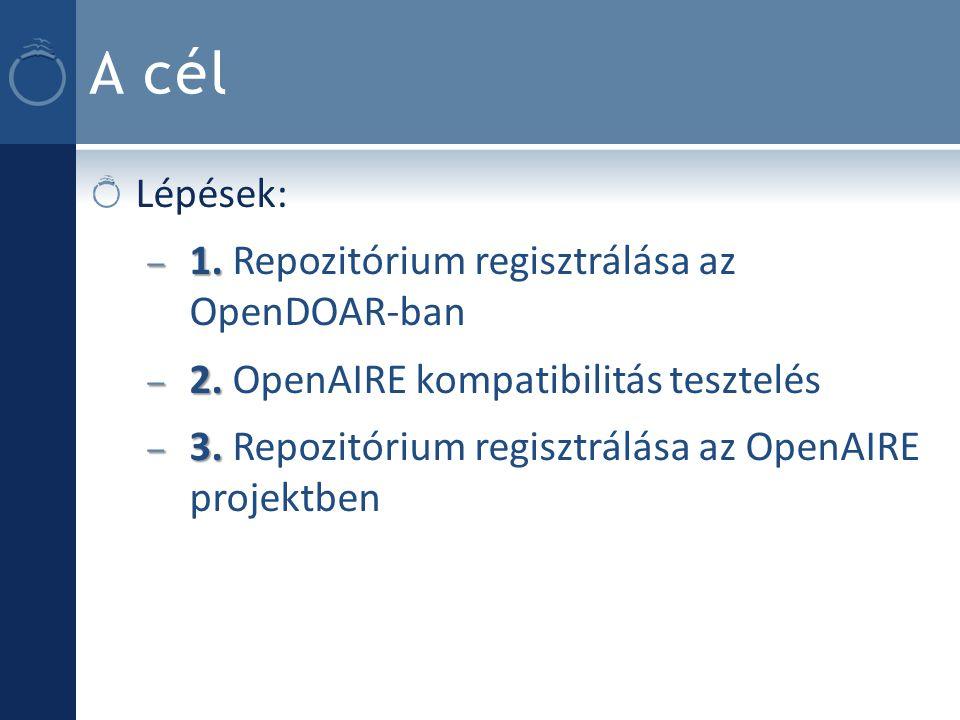 A cél Lépések: – 1. – 1. Repozitórium regisztrálása az OpenDOAR-ban – 2.