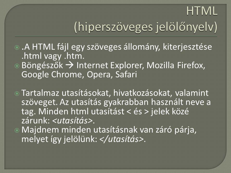 . A HTML fájl egy szöveges állomány, kiterjesztése.html vagy.htm.