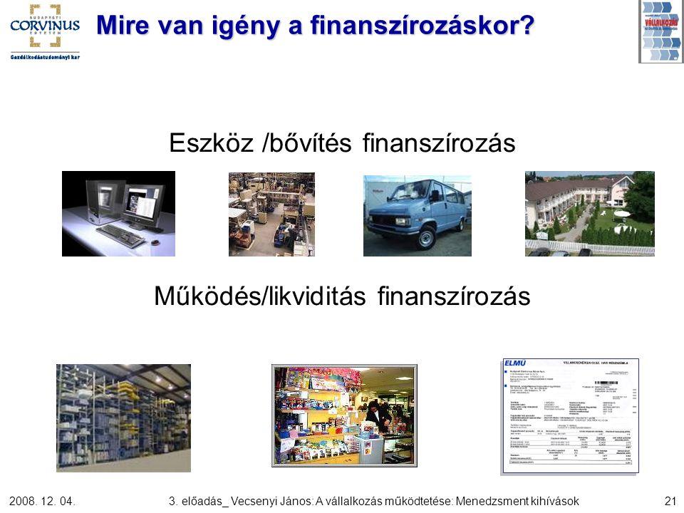 2008. 12. 04.3. előadás_ Vecsenyi János: A vállalkozás működtetése: Menedzsment kihívások21 Mire van igény a finanszírozáskor? Eszköz /bővítés finansz