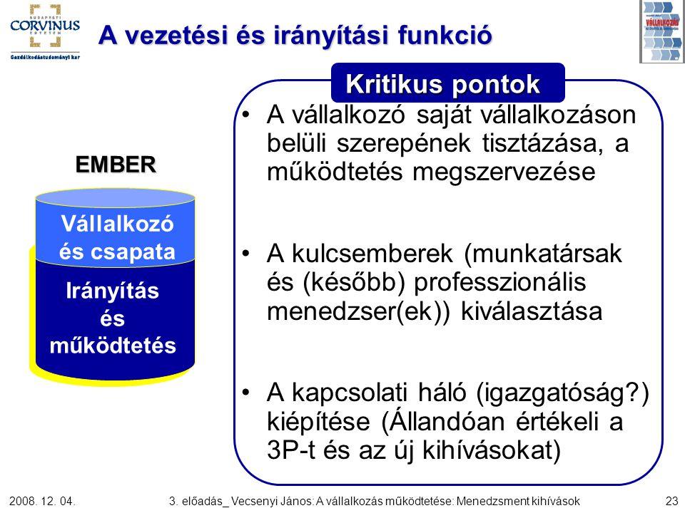 2008. 12. 04.3. előadás_ Vecsenyi János: A vállalkozás működtetése: Menedzsment kihívások23 Kritikus pontok A vezetési és irányítási funkció A vállalk