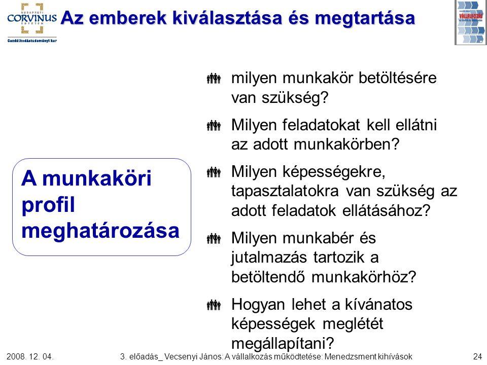 2008. 12. 04.3. előadás_ Vecsenyi János: A vállalkozás működtetése: Menedzsment kihívások24 Az emberek kiválasztása és megtartása  milyen munkakör be