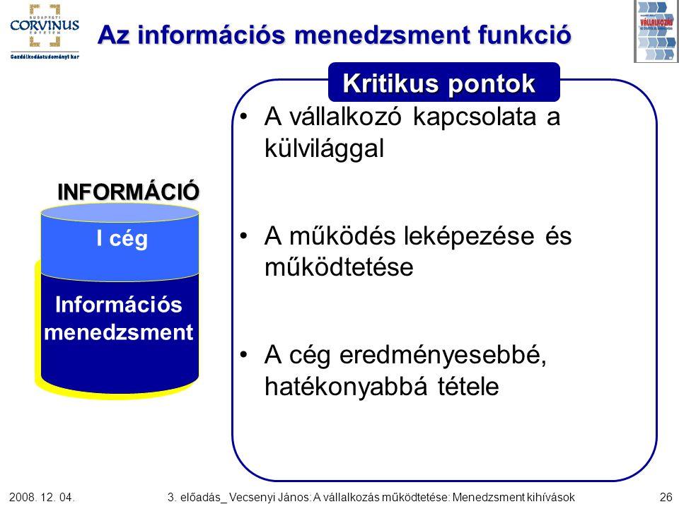2008. 12. 04.3. előadás_ Vecsenyi János: A vállalkozás működtetése: Menedzsment kihívások26 Kritikus pontok Az információs menedzsment funkció A válla