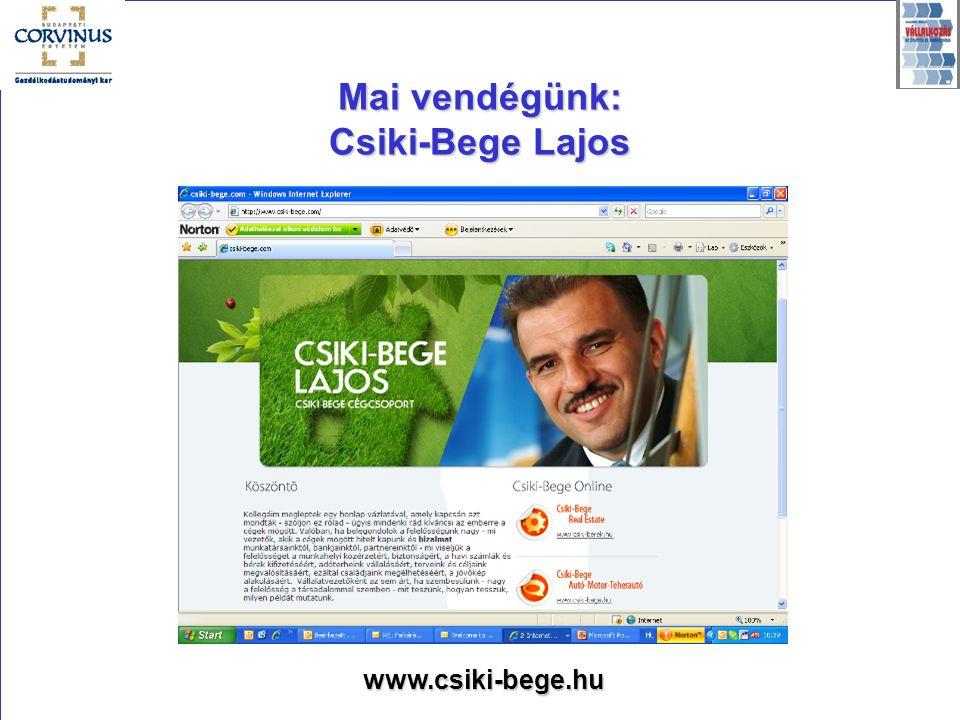 Mai vendégünk: Csiki-Bege Lajos www.csiki-bege.hu