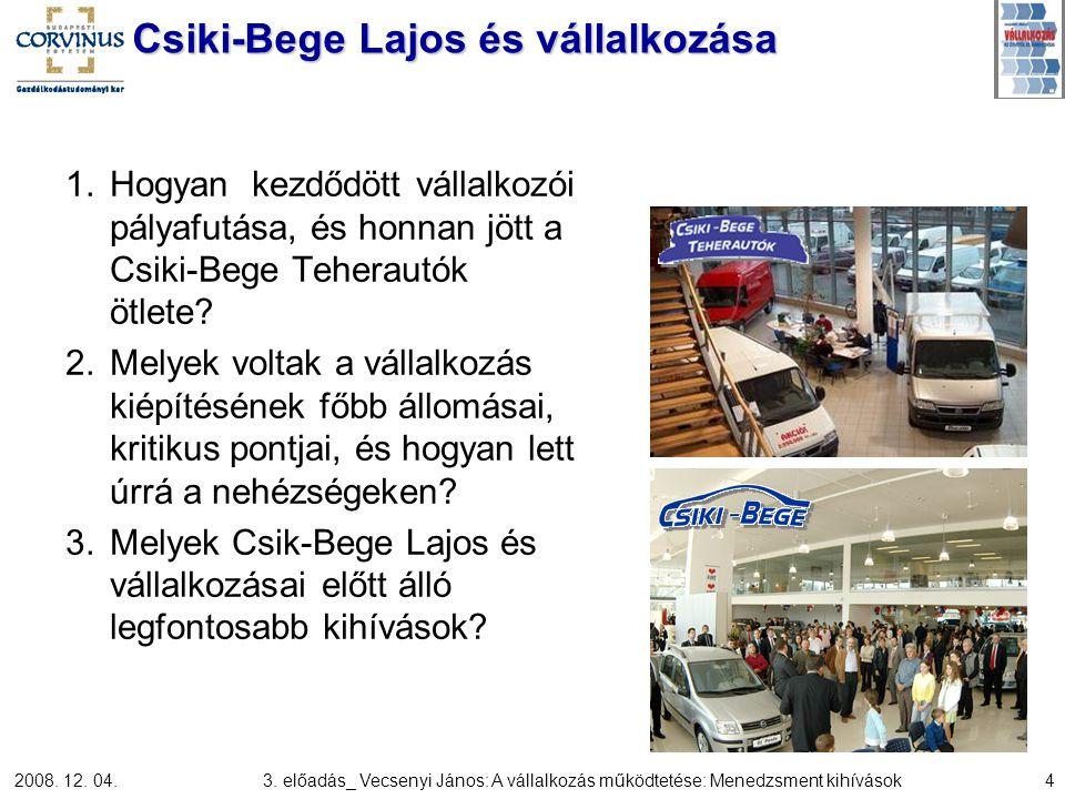 2008. 12. 04.3. előadás_ Vecsenyi János: A vállalkozás működtetése: Menedzsment kihívások4 Csiki-Bege Lajos és vállalkozása 1.Hogyan kezdődött vállalk