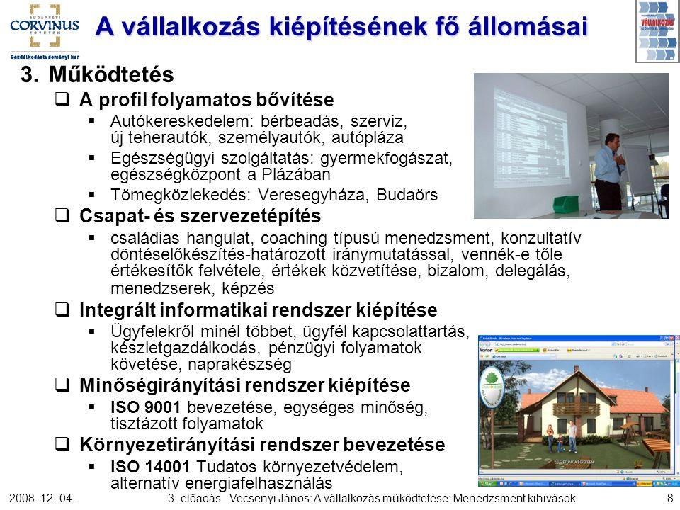 2008. 12. 04.3. előadás_ Vecsenyi János: A vállalkozás működtetése: Menedzsment kihívások8 A vállalkozás kiépítésének fő állomásai 3.Működtetés  A pr