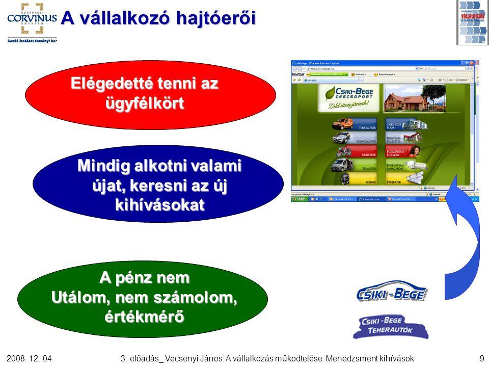 2008. 12. 04.3. előadás_ Vecsenyi János: A vállalkozás működtetése: Menedzsment kihívások9 A vállalkozó hajtóerői Elégedetté tenni az ügyfélkört Mindi