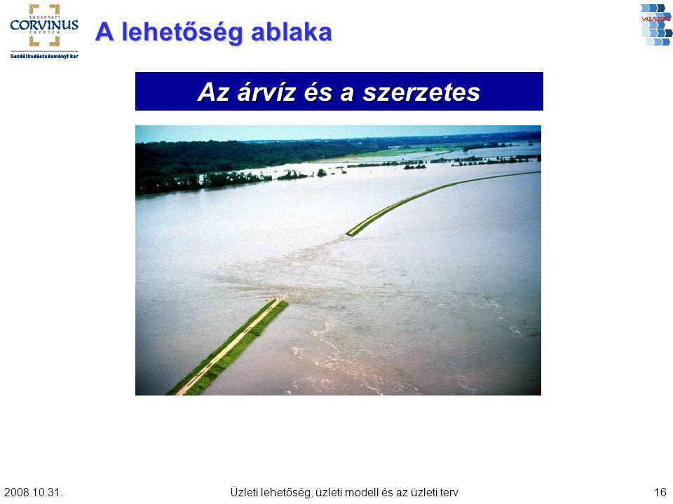 2008.10.31.Üzleti lehetőség, üzleti modell és az üzleti terv16 A lehetőség ablaka Az árvíz és a szerzetes