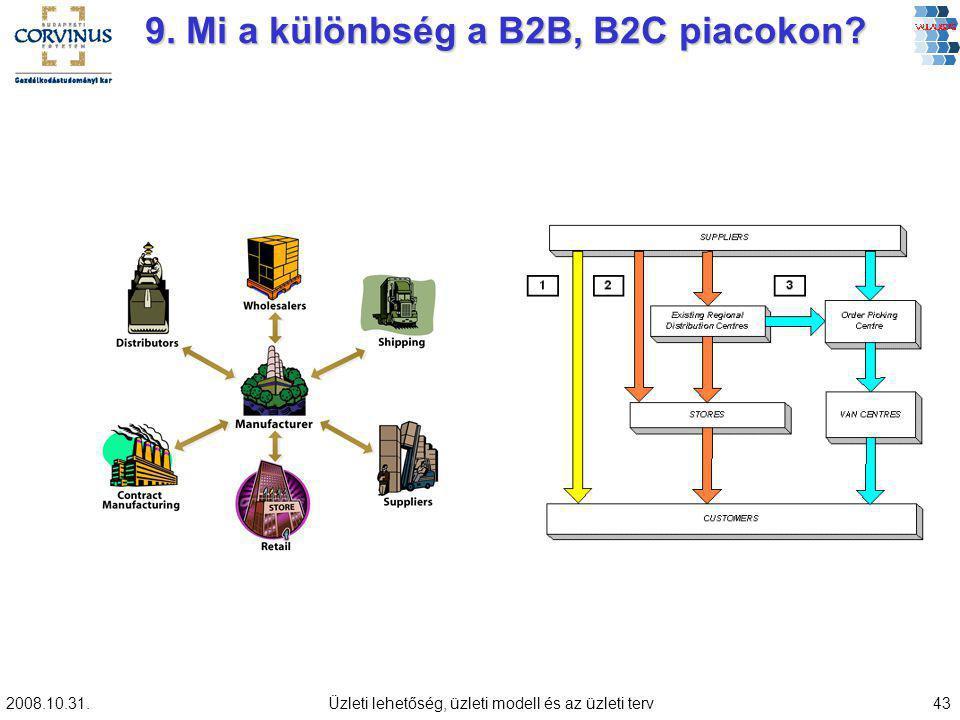 2008.10.31.Üzleti lehetőség, üzleti modell és az üzleti terv43 9. Mi a különbség a B2B, B2C piacokon?