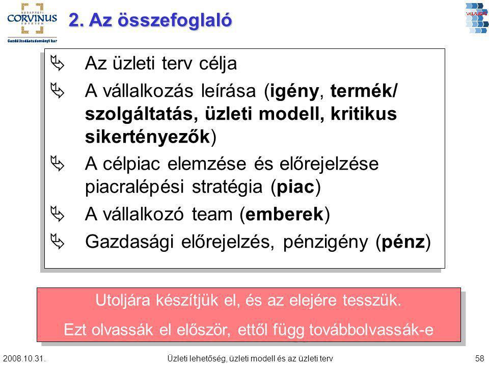 2008.10.31.Üzleti lehetőség, üzleti modell és az üzleti terv58 ÄAz üzleti terv célja ÄA vállalkozás leírása (igény, termék/ szolgáltatás, üzleti model