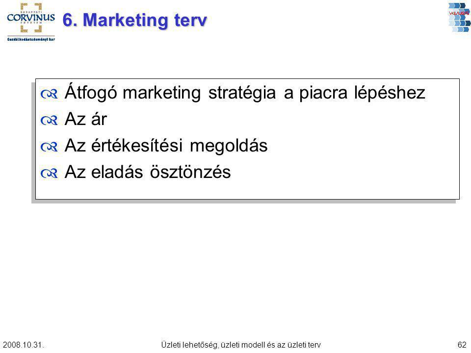 2008.10.31.Üzleti lehetőség, üzleti modell és az üzleti terv62 ™Átfogó marketing stratégia a piacra lépéshez ™Az ár ™Az értékesítési megoldás ™Az eladás ösztönzés ™Átfogó marketing stratégia a piacra lépéshez ™Az ár ™Az értékesítési megoldás ™Az eladás ösztönzés 6.
