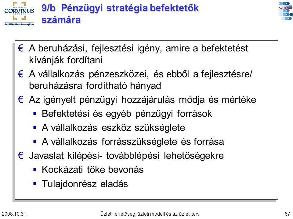 2008.10.31.Üzleti lehetőség, üzleti modell és az üzleti terv67 9/b Pénzügyi stratégia befektetők számára €A beruházási, fejlesztési igény, amire a bef