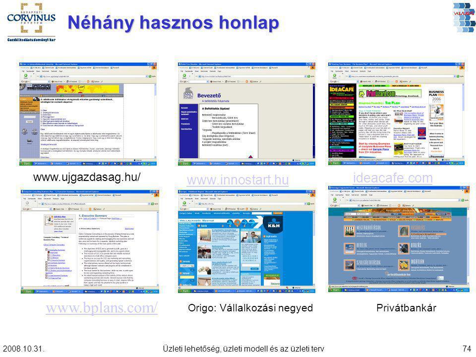2008.10.31.Üzleti lehetőség, üzleti modell és az üzleti terv74 Néhány hasznos honlap Origo: Vállalkozási negyedPrivátbankár www.ujgazdasag.hu/ www.innostart.hu ideacafe.com www.bplans.com/