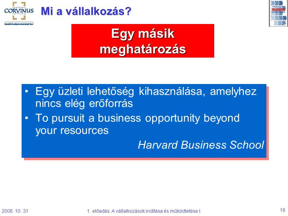 2008. 10. 311. előadás: A vállalkozások indítása és működtetése I. 18 Egy üzleti lehetőség kihasználása, amelyhez nincs elég erőforrás To pursuit a bu