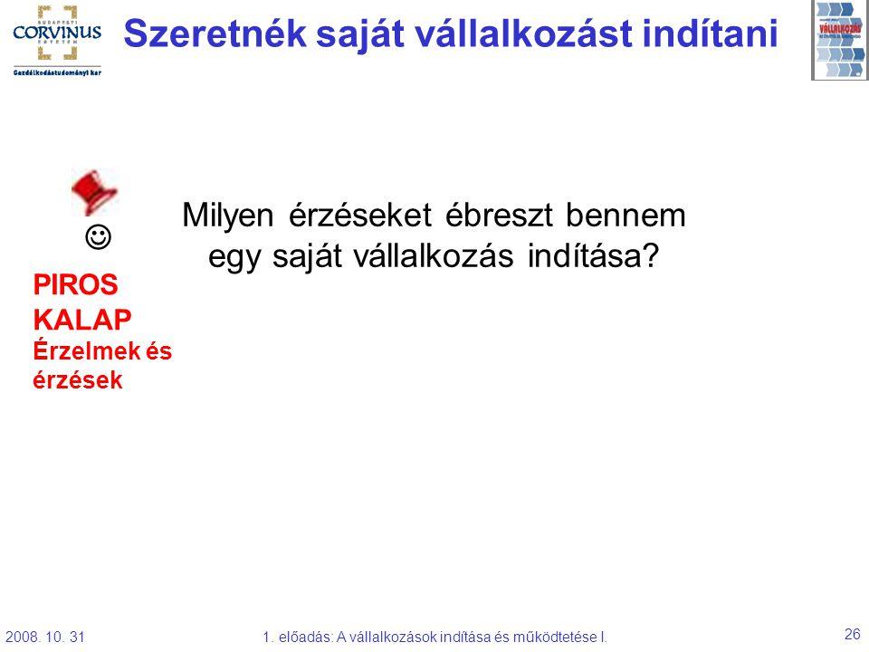 2008. 10. 311. előadás: A vállalkozások indítása és működtetése I. 26 Szeretnék saját vállalkozást indítani Milyen érzéseket ébreszt bennem egy saját