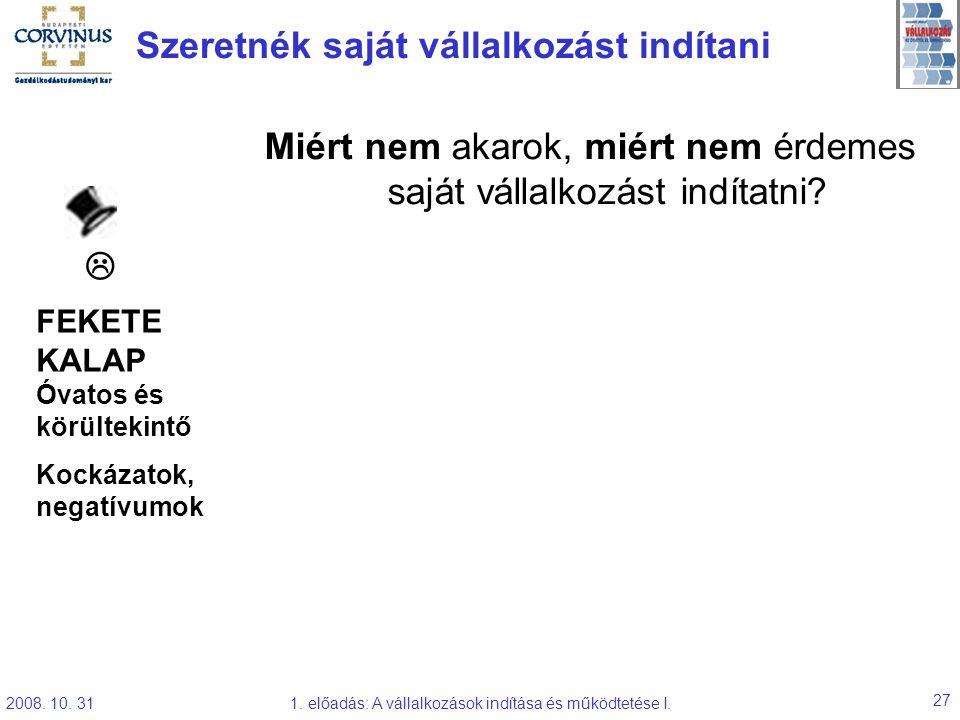 2008. 10. 311. előadás: A vállalkozások indítása és működtetése I. 27 Szeretnék saját vállalkozást indítani Miért nem akarok, miért nem érdemes saját