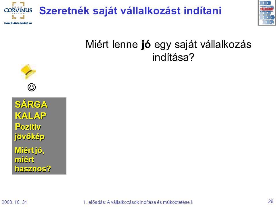 2008. 10. 311. előadás: A vállalkozások indítása és működtetése I. 28 Szeretnék saját vállalkozást indítani Miért lenne jó egy saját vállalkozás indít